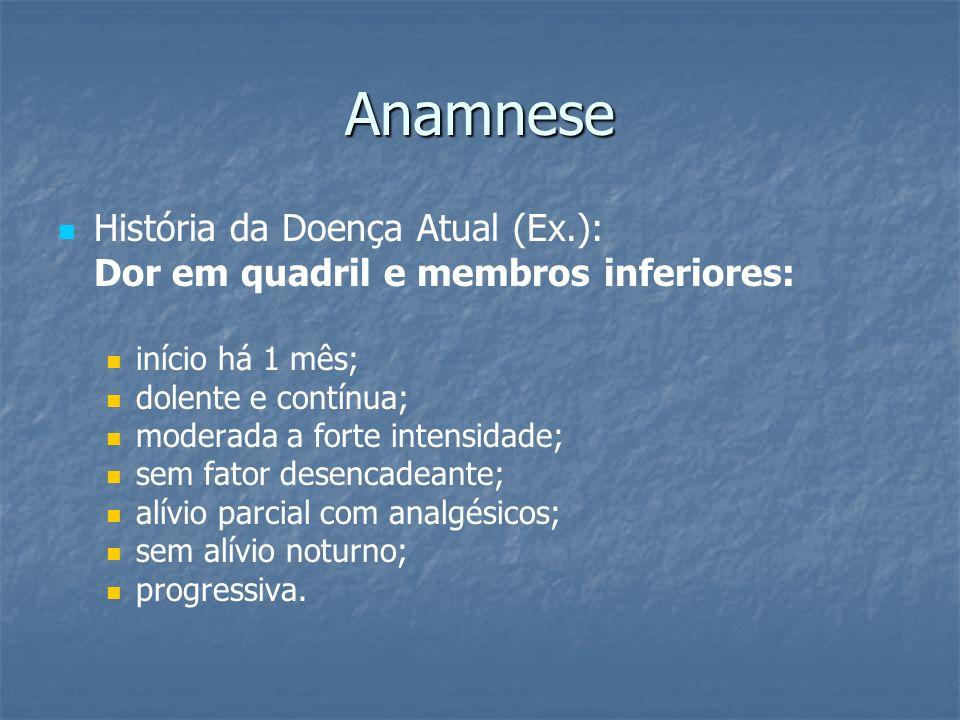Anamnese História da Doença Atual (Ex.):