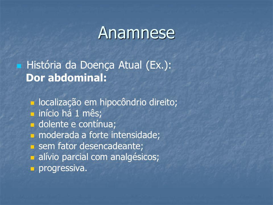 Anamnese História da Doença Atual (Ex.): Dor abdominal: