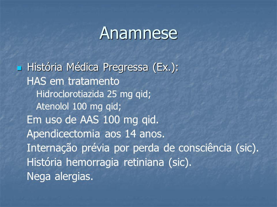 Anamnese História Médica Pregressa (Ex.): HAS em tratamento