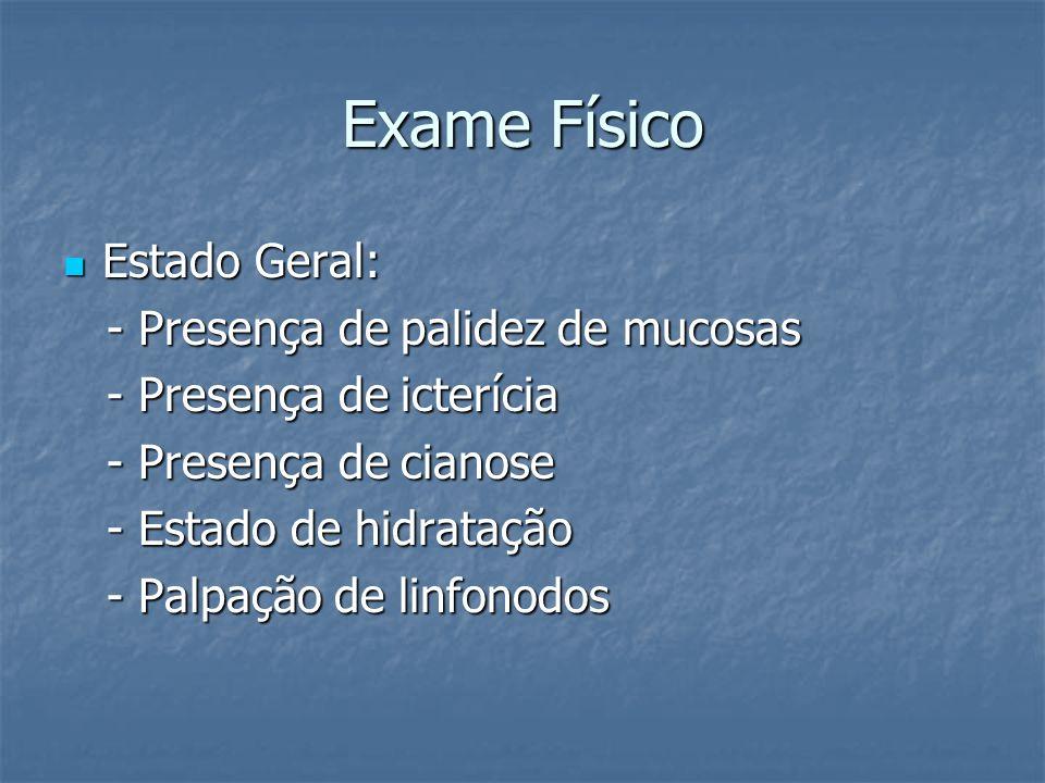 Exame Físico Estado Geral: - Presença de palidez de mucosas
