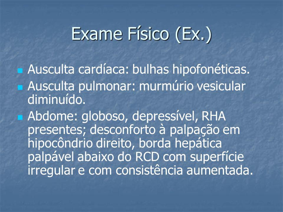 Exame Físico (Ex.) Ausculta cardíaca: bulhas hipofonéticas.