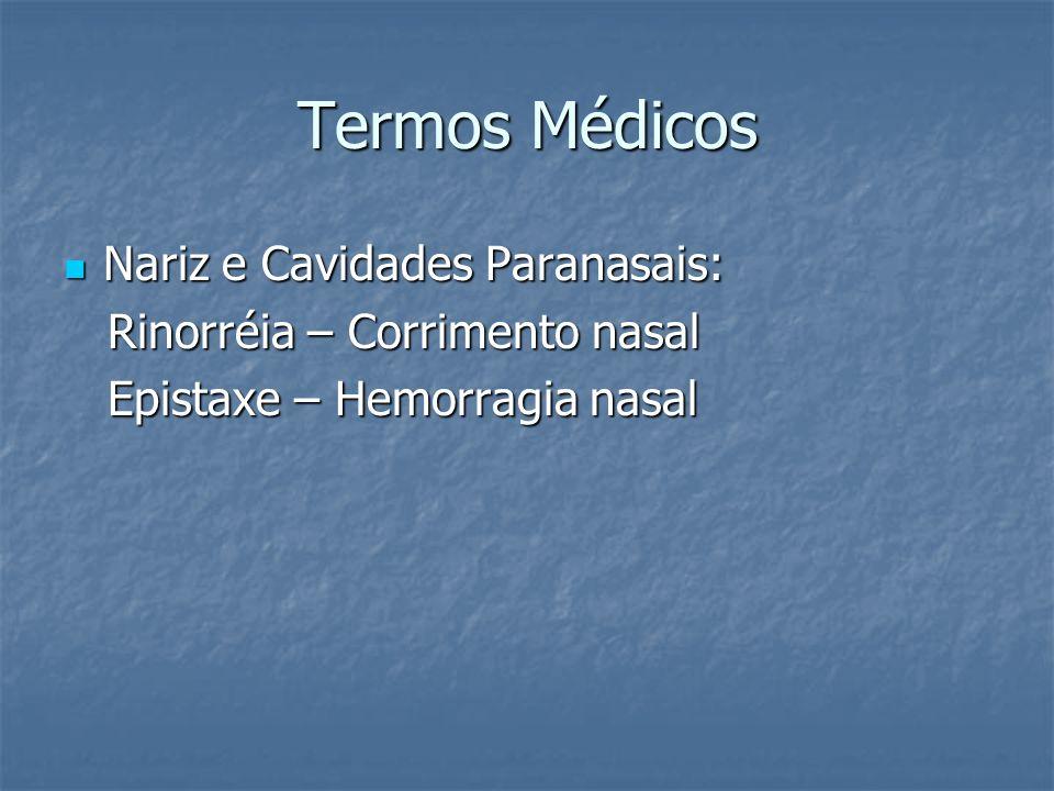 Termos Médicos Nariz e Cavidades Paranasais: