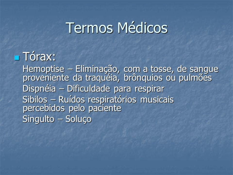 Termos Médicos Tórax: Hemoptise – Eliminação, com a tosse, de sangue proveniente da traquéia, brônquios ou pulmões.