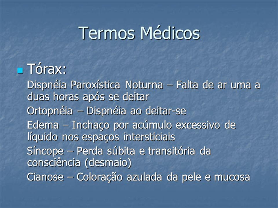 Termos Médicos Tórax: Dispnéia Paroxística Noturna – Falta de ar uma a duas horas após se deitar. Ortopnéia – Dispnéia ao deitar-se.