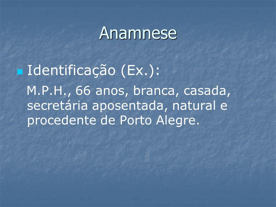 Anamnese Identificação (Ex.):