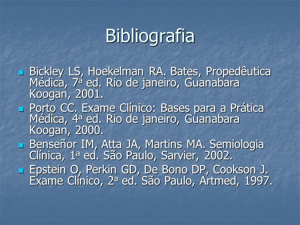 Bibliografia Bickley LS, Hoekelman RA. Bates, Propedêutica Médica, 7a ed. Rio de janeiro, Guanabara Koogan, 2001.