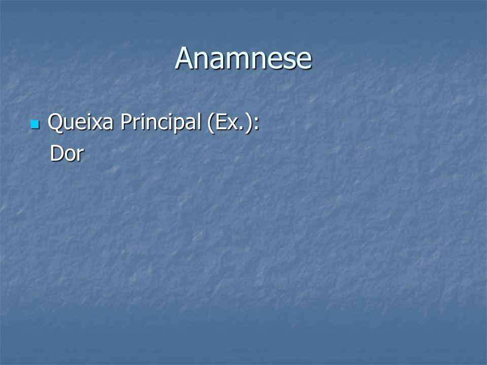 Anamnese Queixa Principal (Ex.): Dor
