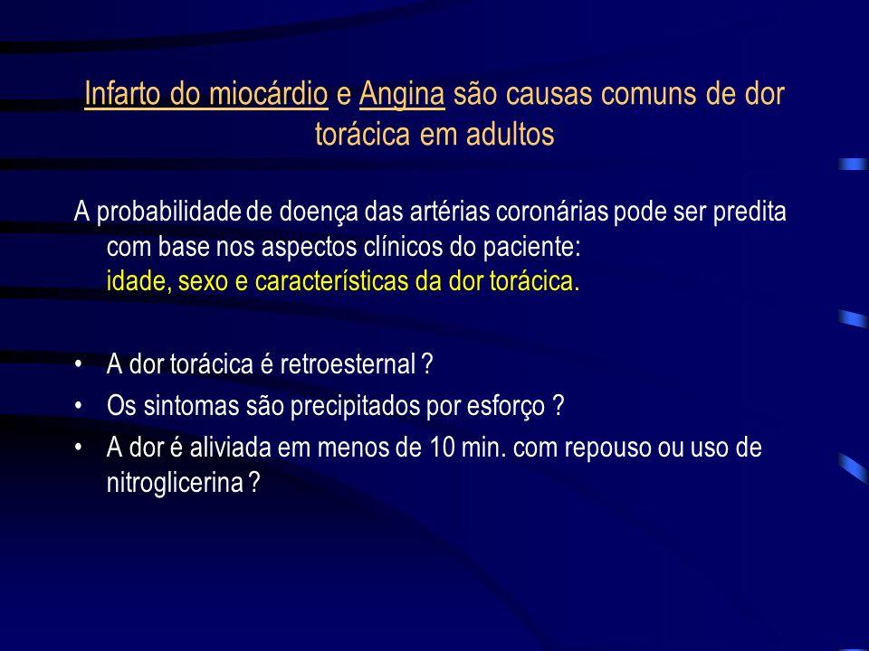 Infarto do miocárdio e Angina são causas comuns de dor torácica em adultos
