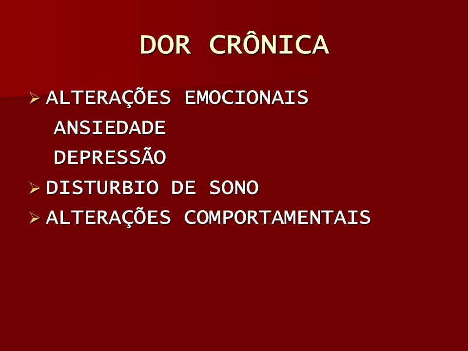 DOR CRÔNICA ALTERAÇÕES EMOCIONAIS ANSIEDADE DEPRESSÃO