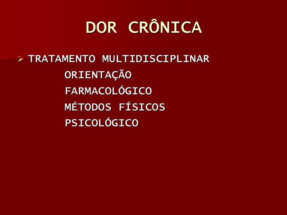 DOR CRÔNICA TRATAMENTO MULTIDISCIPLINAR ORIENTAÇÃO FARMACOLÓGICO
