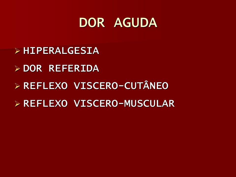 DOR AGUDA HIPERALGESIA DOR REFERIDA REFLEXO VISCERO-CUTÂNEO