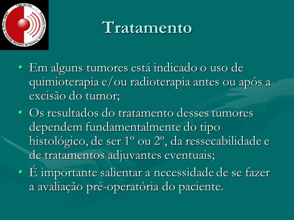 Tratamento Em alguns tumores está indicado o uso de quimioterapia e/ou radioterapia antes ou após a excisão do tumor;