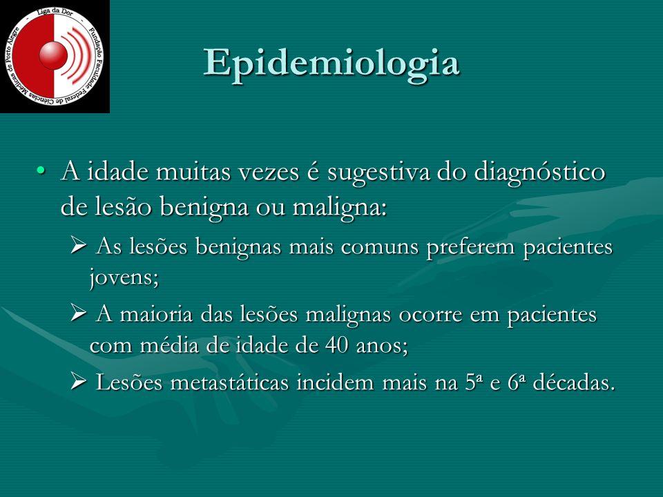 Epidemiologia A idade muitas vezes é sugestiva do diagnóstico de lesão benigna ou maligna: As lesões benignas mais comuns preferem pacientes jovens;
