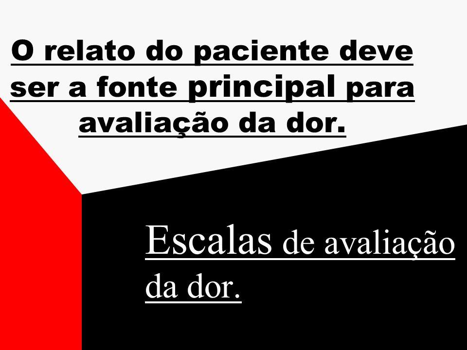 O relato do paciente deve ser a fonte principal para avaliação da dor.