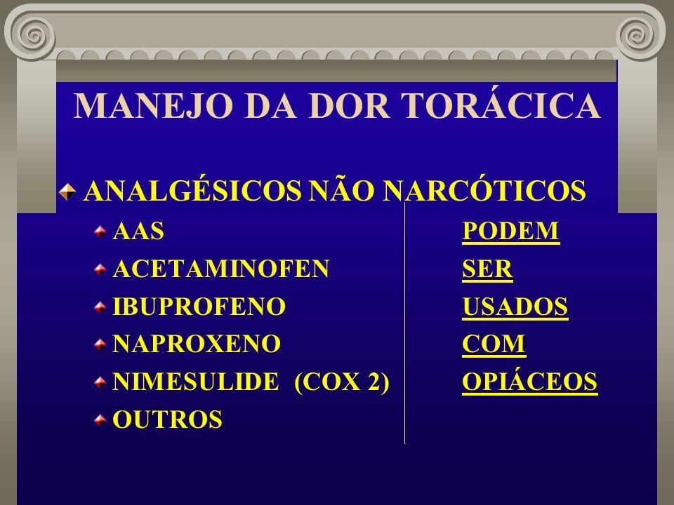 MANEJO DA DOR TORÁCICA ANALGÉSICOS NÃO NARCÓTICOS AAS PODEM
