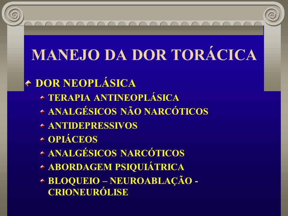 MANEJO DA DOR TORÁCICA DOR NEOPLÁSICA TERAPIA ANTINEOPLÁSICA