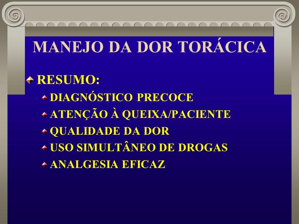 MANEJO DA DOR TORÁCICA RESUMO: DIAGNÓSTICO PRECOCE