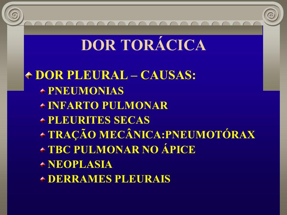 DOR TORÁCICA DOR PLEURAL – CAUSAS: PNEUMONIAS INFARTO PULMONAR
