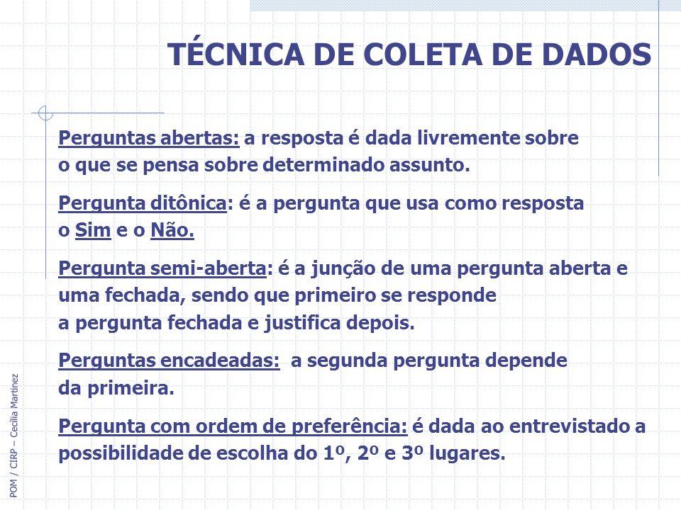 TÉCNICA DE COLETA DE DADOS