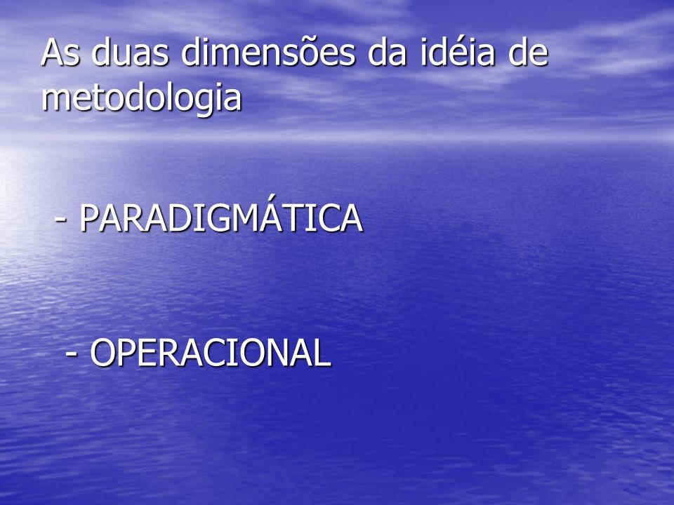 As duas dimensões da idéia de metodologia