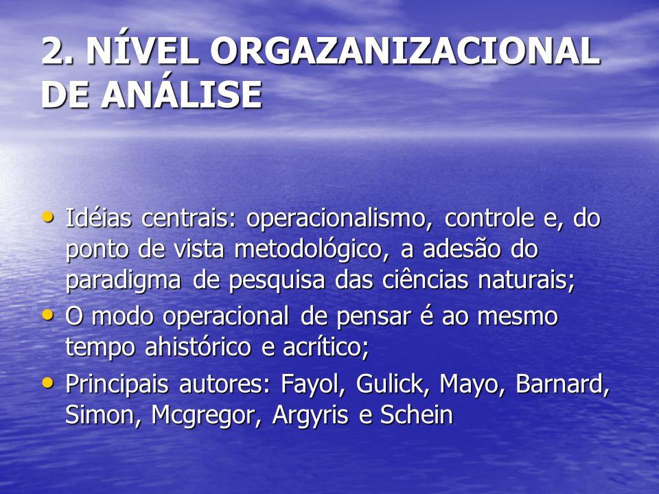 2. NÍVEL ORGAZANIZACIONAL DE ANÁLISE