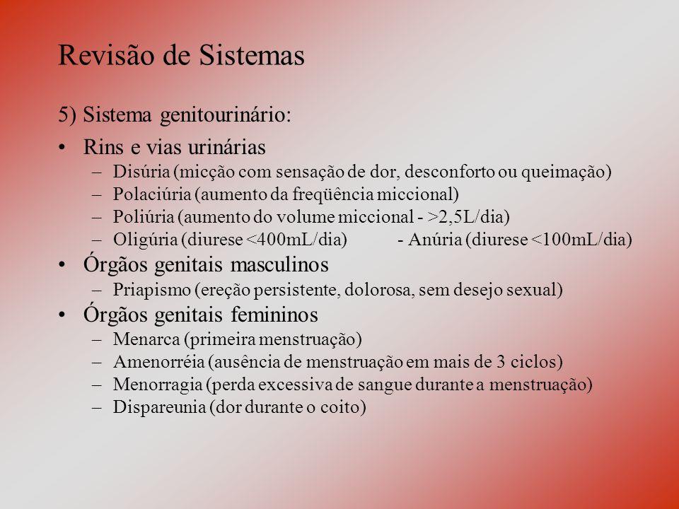 Revisão de Sistemas 5) Sistema genitourinário: Rins e vias urinárias