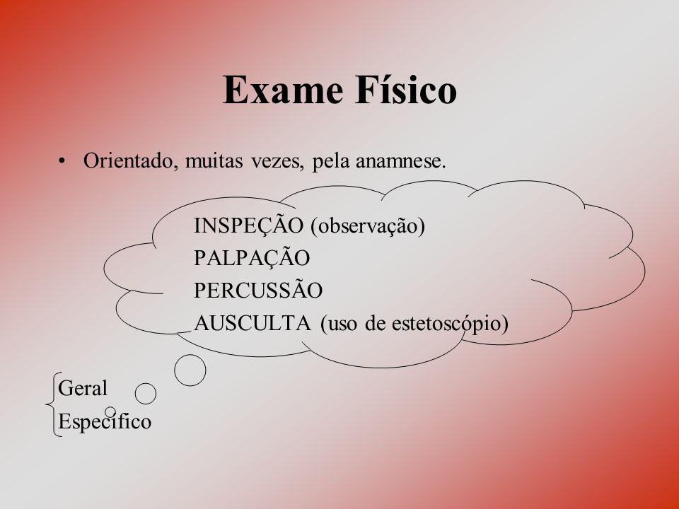 Exame Físico Orientado, muitas vezes, pela anamnese.