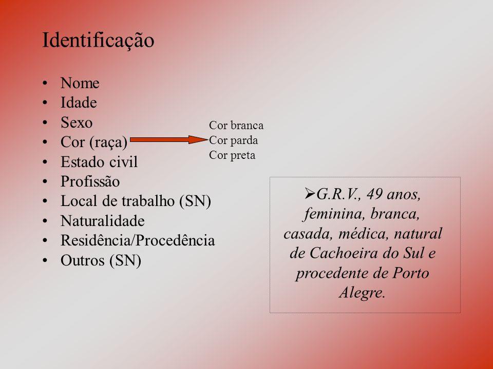 Identificação Nome Idade Sexo Cor (raça) Estado civil Profissão