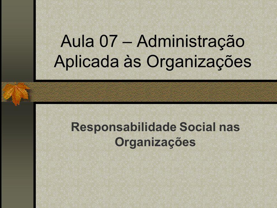 Aula 07 – Administração Aplicada às Organizações
