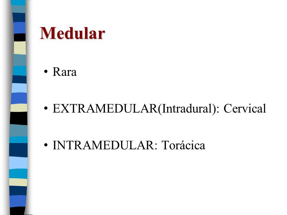 Medular Rara EXTRAMEDULAR(Intradural): Cervical INTRAMEDULAR: Torácica