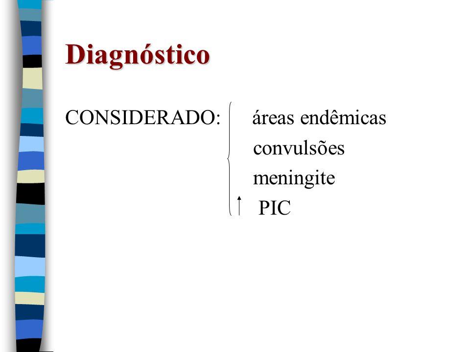 Diagnóstico CONSIDERADO: áreas endêmicas convulsões meningite PIC