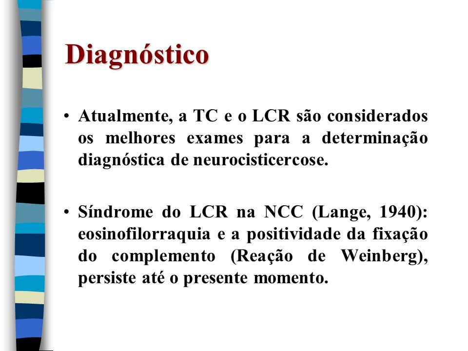 DiagnósticoAtualmente, a TC e o LCR são considerados os melhores exames para a determinação diagnóstica de neurocisticercose.
