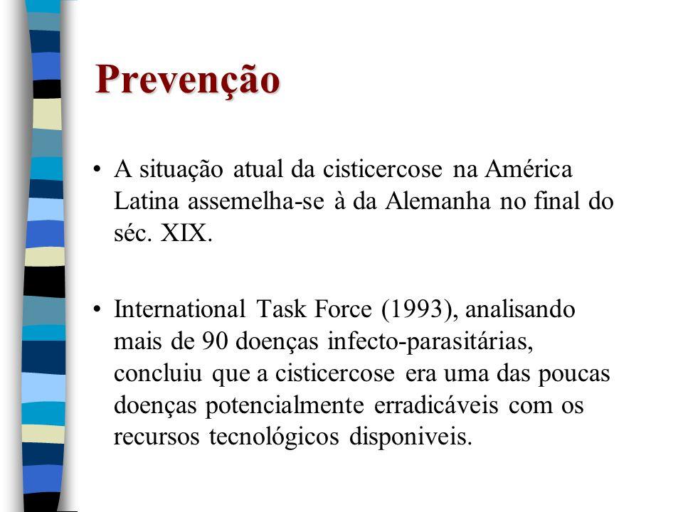 PrevençãoA situação atual da cisticercose na América Latina assemelha-se à da Alemanha no final do séc. XIX.