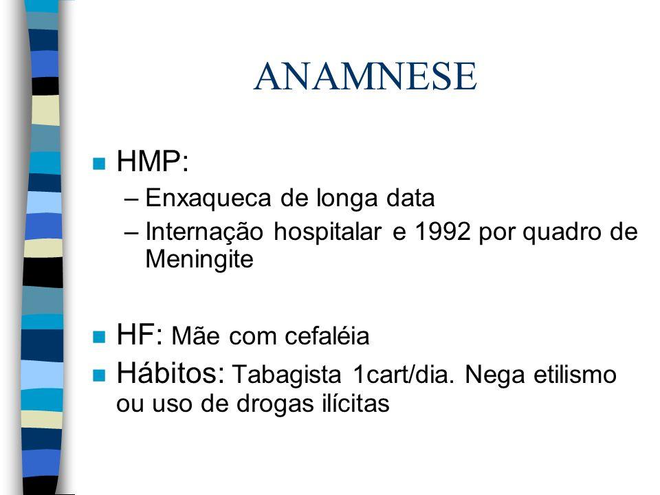 ANAMNESE HMP: HF: Mãe com cefaléia