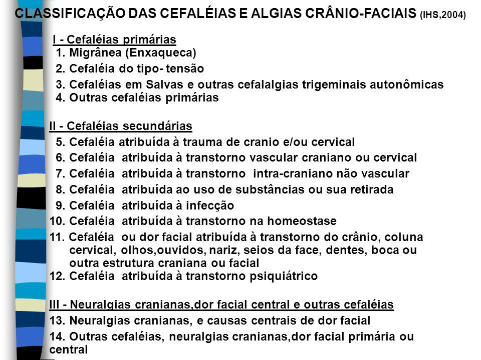 CLASSIFICAÇÃO DAS CEFALÉIAS E ALGIAS CRÂNIO-FACIAIS (IHS,2004)