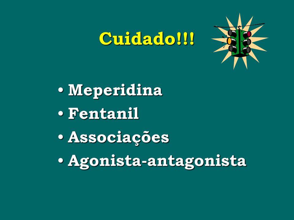 Cuidado!!! Meperidina Fentanil Associações Agonista-antagonista