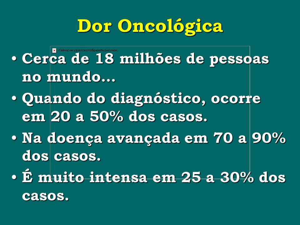 Dor Oncológica Cerca de 18 milhões de pessoas no mundo...
