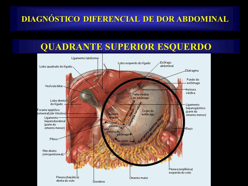 DIAGNÓSTICO DIFERENCIAL DE DOR ABDOMINAL QUADRANTE SUPERIOR ESQUERDO