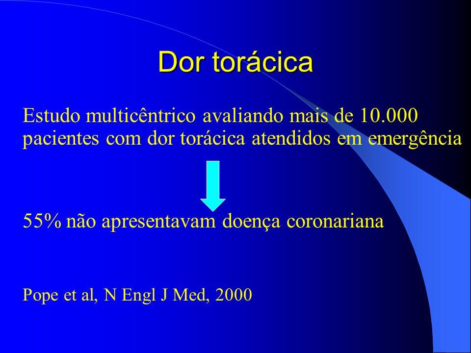 Dor torácica Estudo multicêntrico avaliando mais de 10.000 pacientes com dor torácica atendidos em emergência.