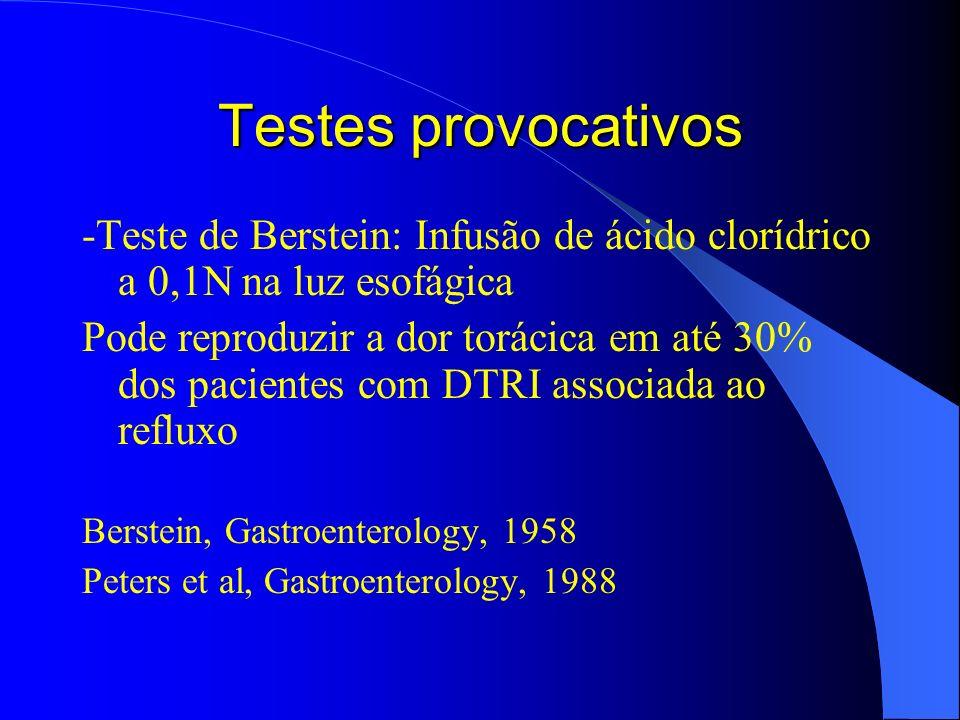 Testes provocativos -Teste de Berstein: Infusão de ácido clorídrico a 0,1N na luz esofágica.