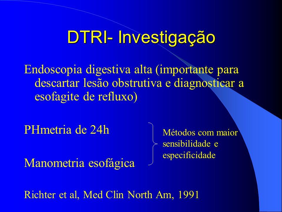 DTRI- Investigação Endoscopia digestiva alta (importante para descartar lesão obstrutiva e diagnosticar a esofagite de refluxo)