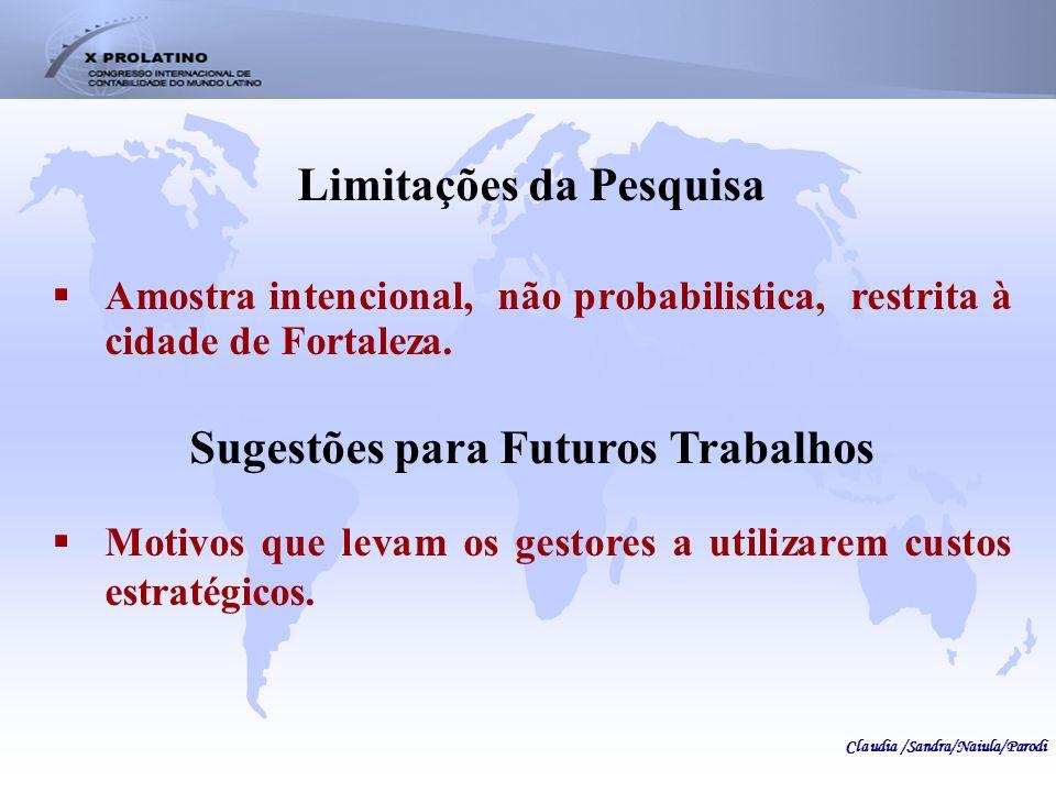 Limitações da Pesquisa Sugestões para Futuros Trabalhos