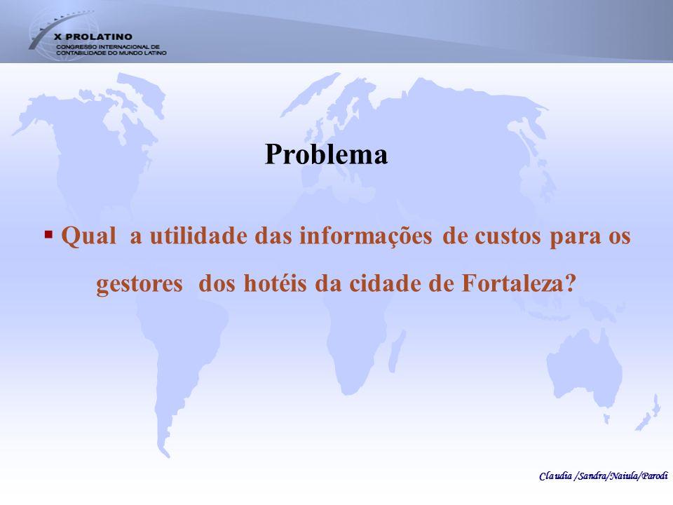 Problema Qual a utilidade das informações de custos para os gestores dos hotéis da cidade de Fortaleza
