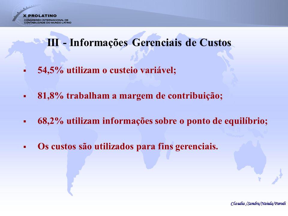 III - Informações Gerenciais de Custos