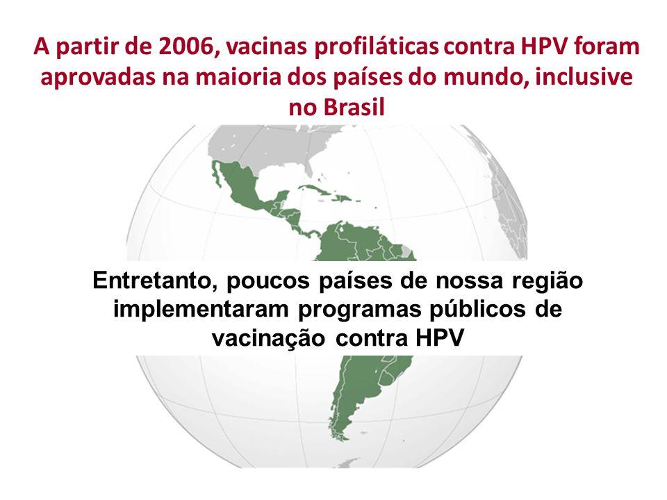 A partir de 2006, vacinas profiláticas contra HPV foram aprovadas na maioria dos países do mundo, inclusive no Brasil