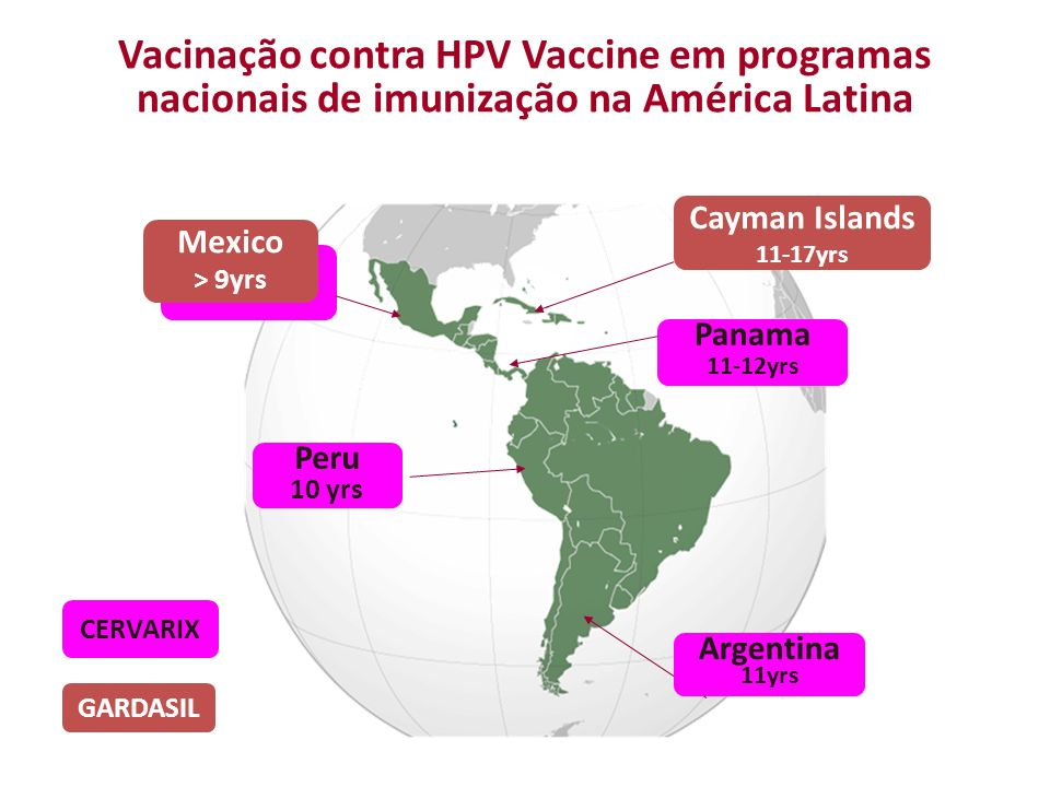 Vacinação contra HPV Vaccine em programas nacionais de imunização na América Latina