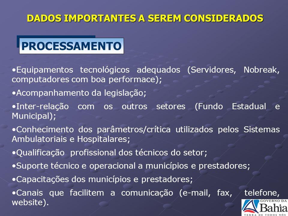 PROCESSAMENTO DADOS IMPORTANTES A SEREM CONSIDERADOS