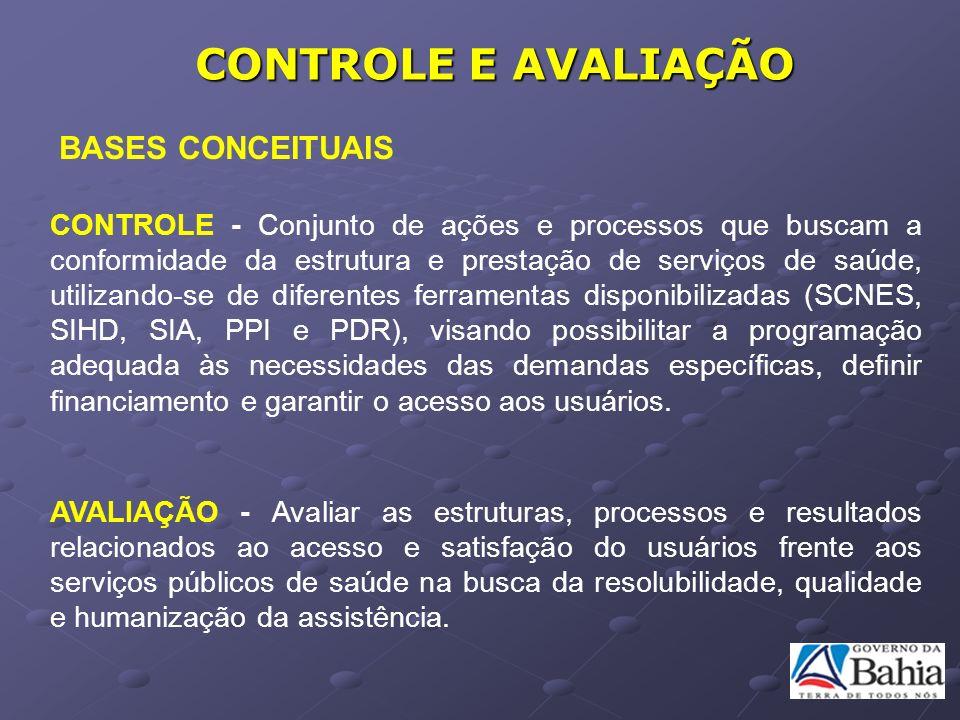 CONTROLE E AVALIAÇÃO BASES CONCEITUAIS