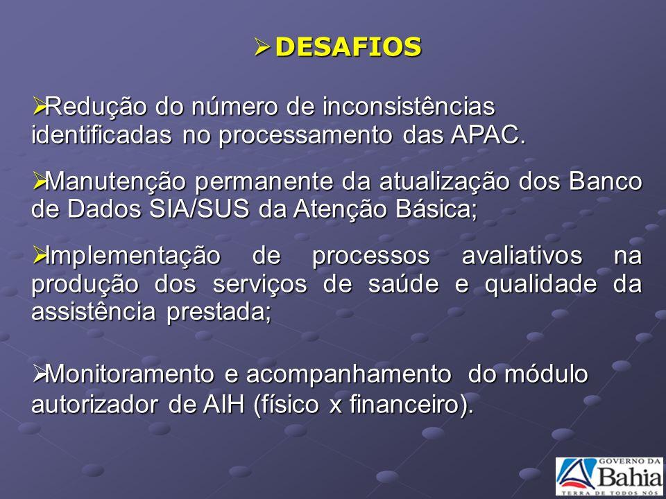DESAFIOS Redução do número de inconsistências identificadas no processamento das APAC.