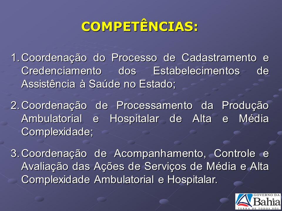 COMPETÊNCIAS: Coordenação do Processo de Cadastramento e Credenciamento dos Estabelecimentos de Assistência à Saúde no Estado;